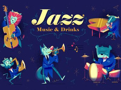 :::Jazz Animal Band::: concert monkey saxophone piano animal music jazz design vector happy character illustration