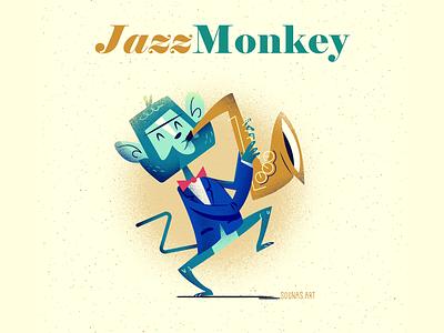 :::Jazz Monkey | Animal Band::: vector art ape player music jazz music saxophone monster vector happy character illustration