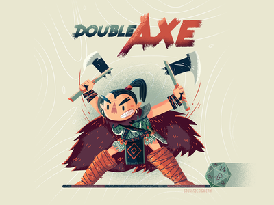 :::Double-Axe Warrior::: illustration mini character fighter character board game concept axe dnd warrior