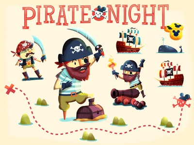 Disney Pirate Night infographic pirate character design ship cannon skulls treasure whale map coins