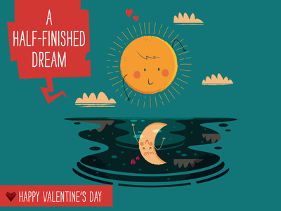 A Half-Finished Dream - card 3 of 6 illustration love sun moon valentine sea mirage happy