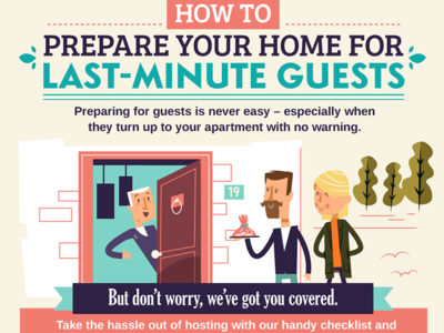 Last-minute guests visitors door home house people guests infographic