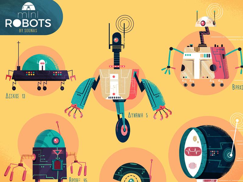 :::Mini Robots full poster::: funny textured illustration adobe illustrator vector tech technology future sounasdesign ilias sounas sounas robots