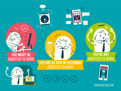 :::Addicted to work graphics::: busy overload computer workaholic addiction infographic