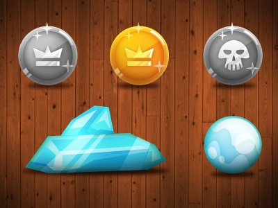 Money icons coins crystal moeny game graphics