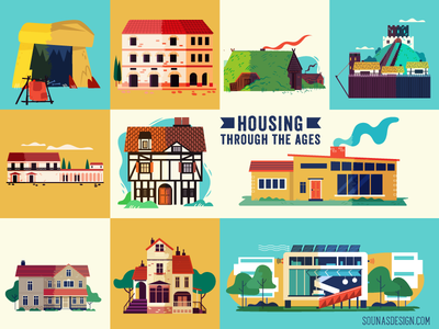 :::Housing through the ages infographic : buildings:::