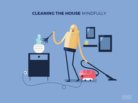 :::Mindful illustration - house cleaning:::