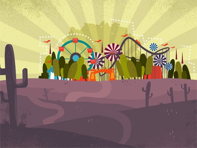 Promised Land editorial illustration promised land desert luna park