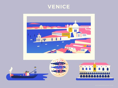 :::Travel posters - Venice::: church gondola travel food minimal poster buildings doge venice