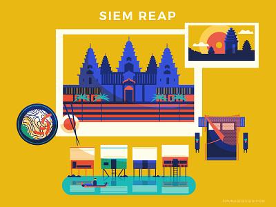 :::Travel posters - Siem Reap::: river huts temple angkor wat phnom bakheng river food travel exotic cambodia