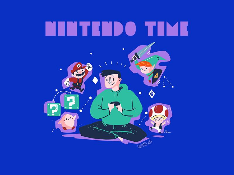:::Nintendo Time::: gamer player video game kirby link zeld super mario nintendo
