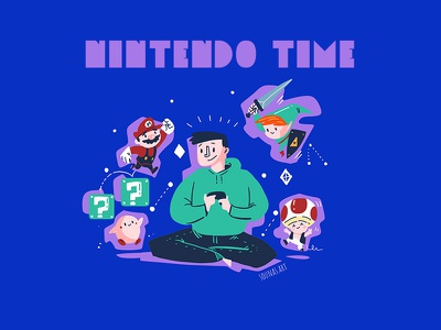 :::Nintendo Time::: gamer player video game kirby link zeld super mario nintendo