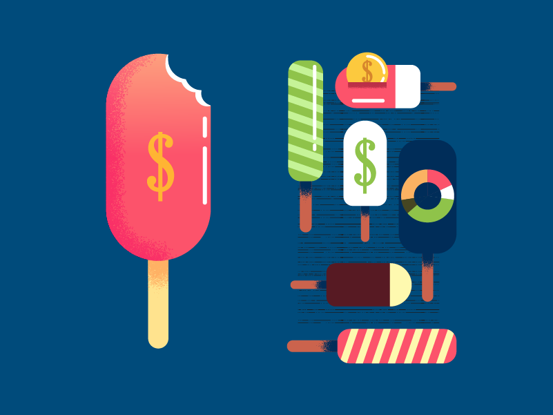 :::Financial popsicles::: ice cream dollar economy financial money
