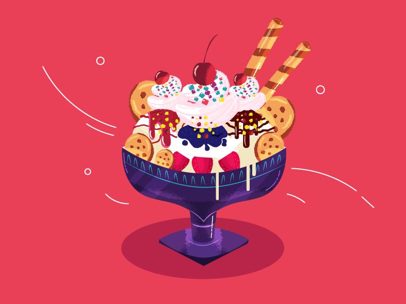 :::Sundae ice cream::: syrup toppings cherry garnish sundae icecream