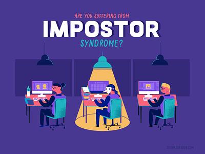 :::Impostor syndrome - illustration::: guilty liar creative fake syndrome impostor work