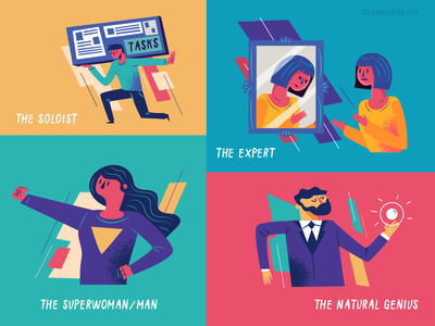 :::Various graphics - Impostor syndrome::: types of people poses people infographic editorial