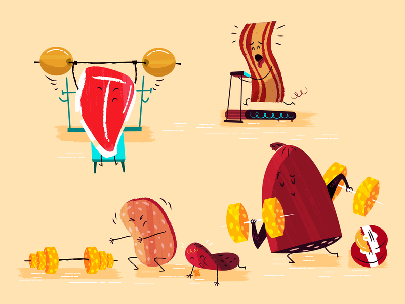 :::Meat, bacon & cheese::: funny olives workout exercise gyms mini cheese bacon