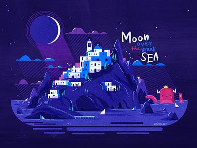 :::Moon over the greek sea::: rocks night summer greece island sea moon vector