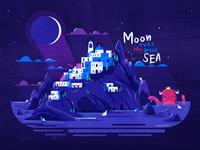 :::Moon over the greek sea:::