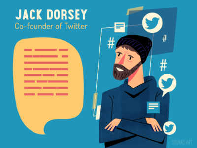 :::Jack Dorsey-Twitter::: character person infographic quote bird twitter