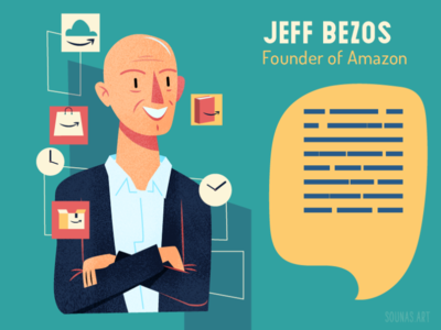 :::Jeff Bezos-Amazon::: illustration vector portrait person amazon