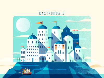:::Kastropolis::: vector minimal illustration fortress greece bulding city ship fantasy architecture