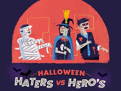 :::Halloween illustration-Costumes::: witch zombie mummy halloween character illustration