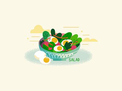 :::Egg salad illustration::: illustration vector bowl plate diet salad food