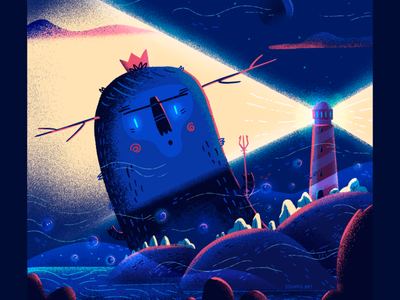 :::Light & Darkness::: illustration sea darkness monster lighthouse procreate art procreate