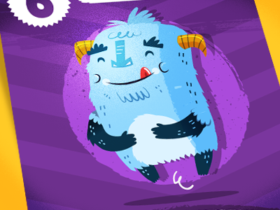 Monster Card #1 monster character card game little happy purple hovering