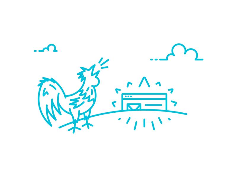 wake up, li'l site! farm clouds sun sunrise rooster animal vector design line illustration