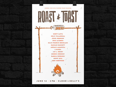 Roast And Toast Poster camp sharpie drawing bread fire 2-color screenprint poster