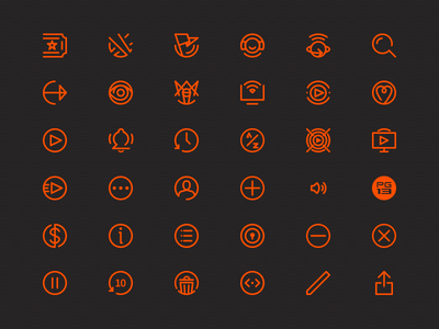 Multi-Platform Media App Icons product design iconography icons movies orange line mobile tablet ipad iphone tv icon