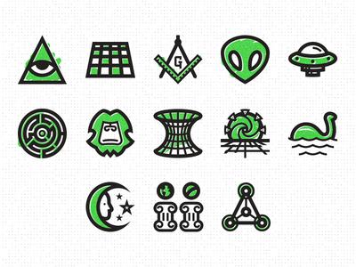 Super Secret Club Icon Pack, Vol 1 conspiracy icon crop circle loch ness time travel wormhole bigfoot ufo spaceship alien mason pyramid
