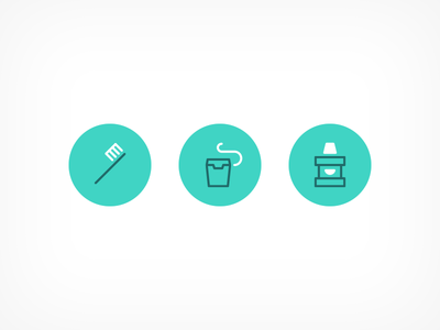 Oral Health Icons happy monoweight line settings notifications data goals happy face floss mouthwash toothbrush icons