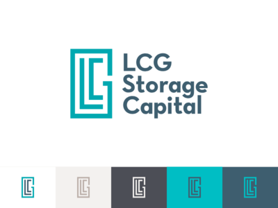 LCG Storage Capital invest financial compact strong storage buildings stacked typography icon mark logo brand