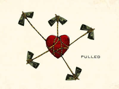 """""""Pulled"""" Illustration illustration church waypoint pulled series money heart love greed power control directions logo lettering typography"""