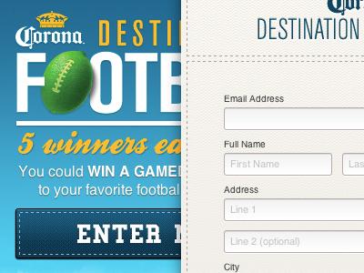 Destination Football Form microsite design texture promotion entry form