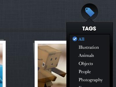 Tags portfolio tag menu