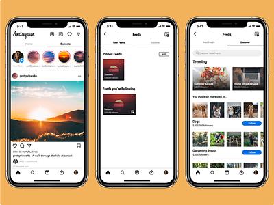 Curated Content on Instagram social media instagram product design ux design app ui