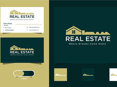 Business Card and Logo designs For Real Estate business razaphics graphic design logo branding vector design construction property realtor