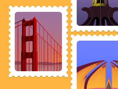 Stamps illustrations landmarks stamps