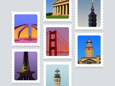 KeepTruckin: Celebrating Growth trucking stamps offices landmarks city illustration