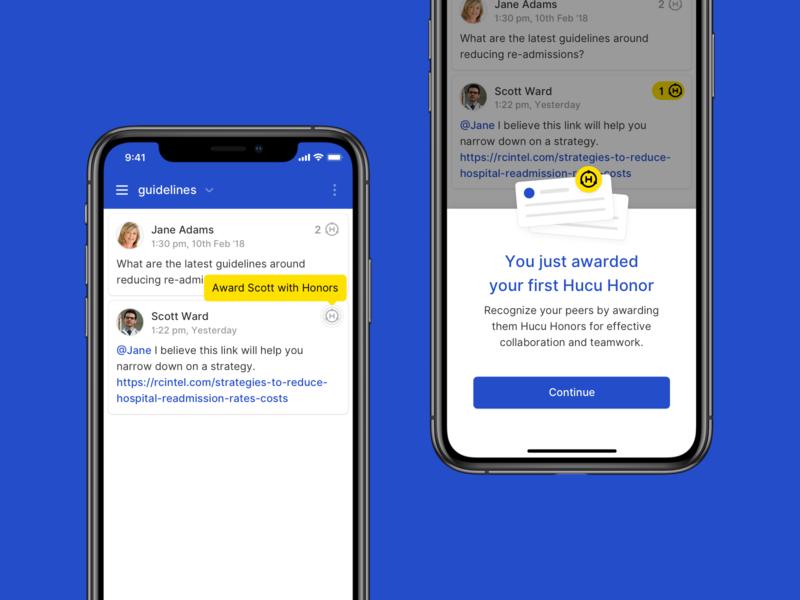 Hucu - Awarding Honors onboarding point system app design hucu