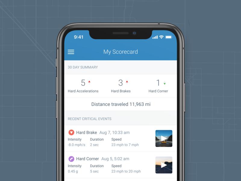 Driver Scorecard interface dashcam safety keeptruckin app driver coaching