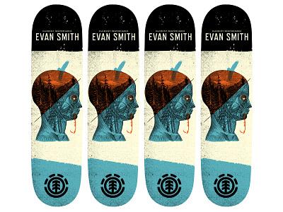 Skateboard deck design for Element Skateboards skateboard illustration skateboard design typography design illustration