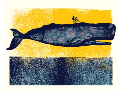 """""""Breach Ride"""" poster bicycle whale collage poster design illustration"""