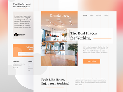 OrangeSpace - CoWorking & Office Space web design ui design uiux company corporate coworker coworking coworking space office space