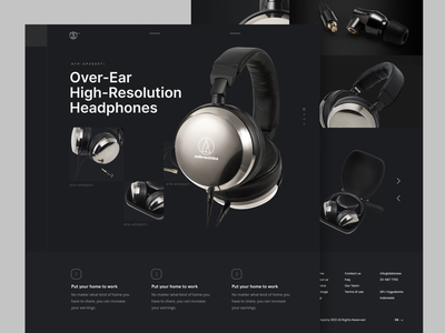 Professional Headphone Audio Technica Landing Page podcast jukebox spotify music headphone audio web design ui design ui ux