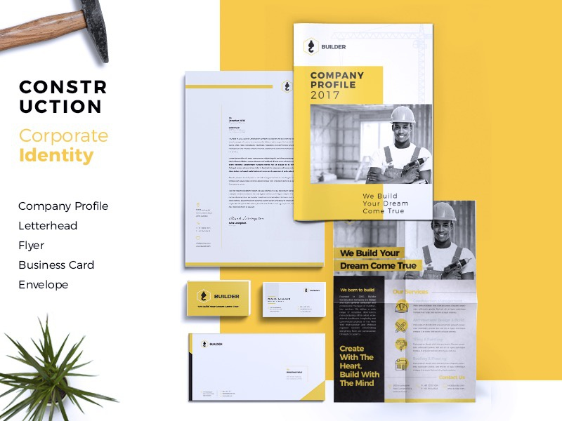 Builder | Construction Corporate Branding Identity stationery marketing identity flyer envelope creative construction company profile business card building brochure branding